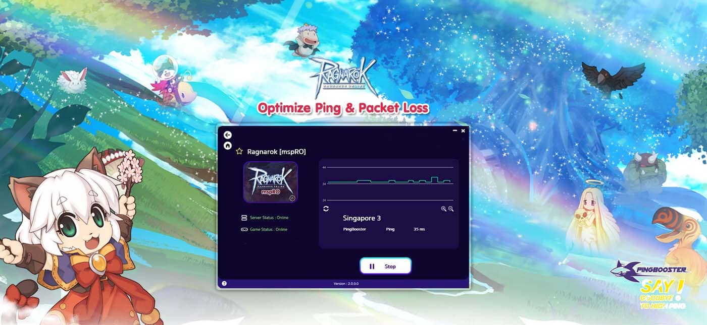 Optimize Ping Ragnarok Online MSP with VPN PingBooster