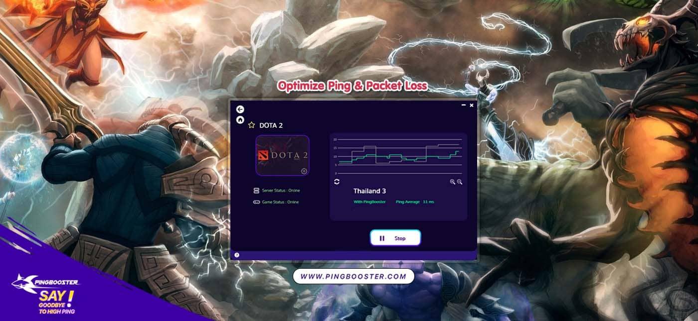 แก้แลค แก้ปิง  DOTA 2Steamด้วย PingBooster VPN