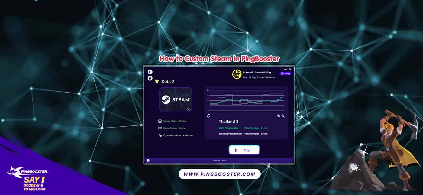 ขั้นตอนการตั้งค่า Custom Steam ในโปรแกรม PingBooster