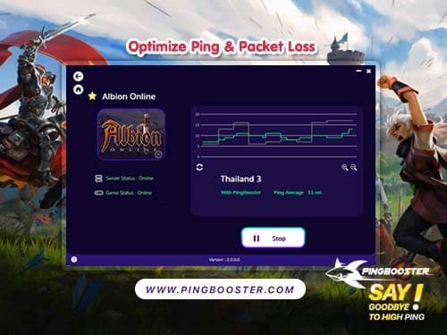 แก้แลค แก้ปิง มุดเล่น  Albion Online ต้อง VPN PingBooster