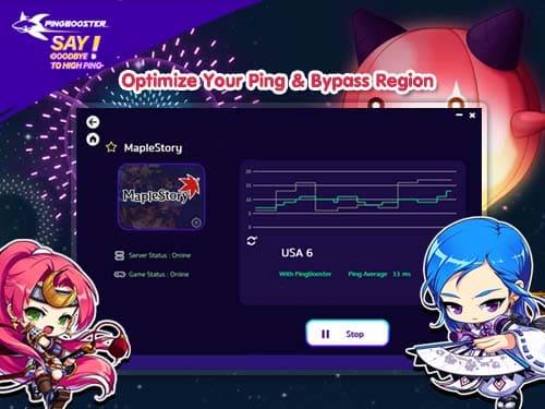 วิธีใช้ PingBooster เล่น Maple Story ในประเทศและต่างประเทศ