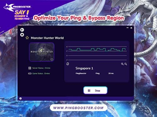 Optimize Ping Monster Hunter World with PingBooster