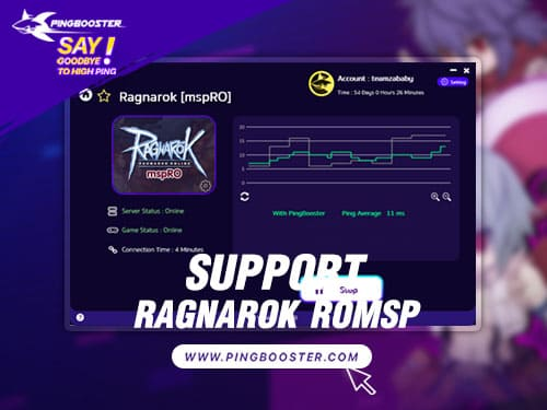 Optimize Ping Ragnarok Online MSPRO with VPN PingBooster