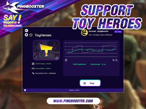 Optimize Ping Toy Heroes with VPN PingBooster