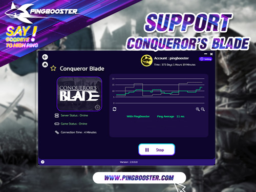 Optimize Ping Conqueror's Blade with VPN  PingBooster