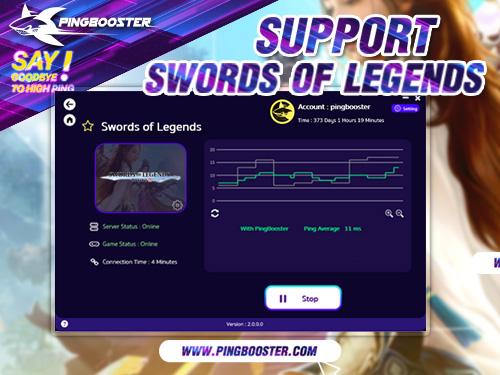 PingBooster VPN Support Swords of Legends